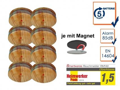 8er SET Rauchmelder Holzoptik 5 Jahres Batterie & Magnetbefestigung, Feueralarm