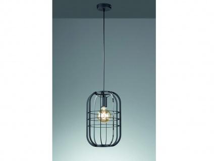 Vintage LED Pendelleuchte - Gitterlampe Industrielook mit Lampenschirm schwarz