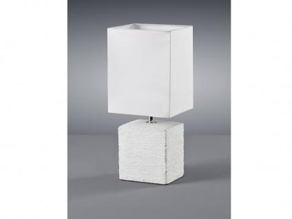 Keramik LED Tischleuchte eckig 29cm hoch mit Stofflampenschirm 13x11cm in Weiß