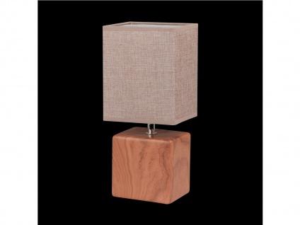 Tischleuchte LOG Schirm eckig Struktustoff beige Wohnzimmerlampe Honsel-Leuchten - Vorschau 3