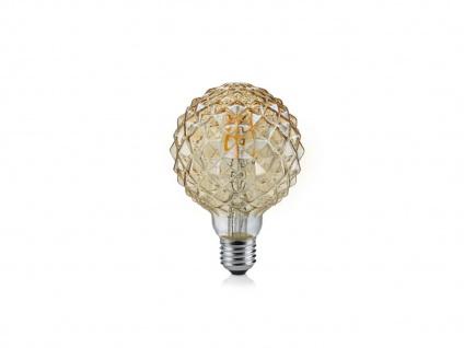 Retro Stil LED Leuchtmittel mit E27 Fassung, 4 Watt in Warmweiß gemustertes Glas