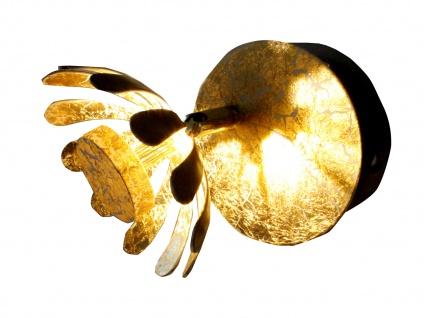 Einflammige florentiner Blumen Motiv LED Innenwandlampe aus Metall in Blattgold - Vorschau 2