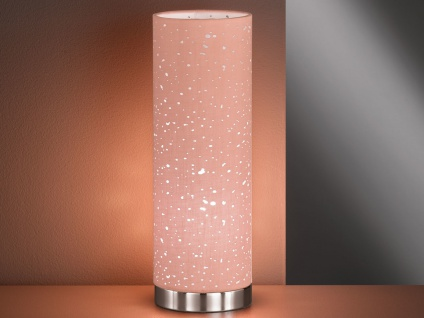 Kleine LED Tischlampe chrom mit Lampenschirm Stoff pink, Nachttischlampe Design - Vorschau 2