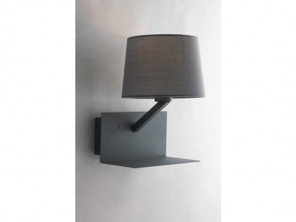 LED Wandlampe Grau Stoff Lampenschirm, USB Lampe mit Handy Ladefunktion & Ablage - Vorschau 3