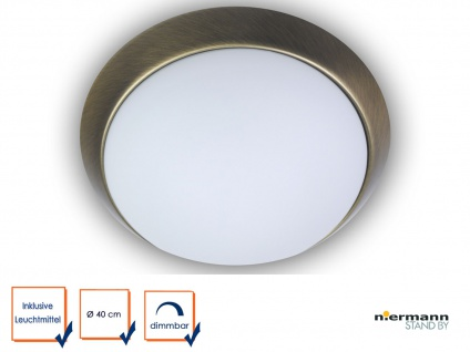 LED Deckenleuchte rund Opalglas matt Zierring Altmessing Ø40cm LED Küchenleuchte