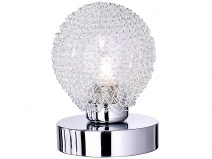 LED Tischleuchte 1 flammig Alu Drahtgeflecht in Silber Chrom mit Touch Dimmer