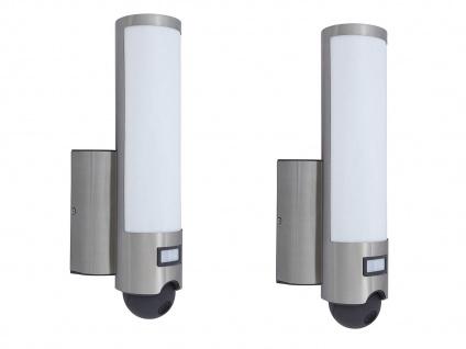 2er Set smarte LED Außenleuchten Wandlampen mit Bewegungsmelder & WLAN Kamera