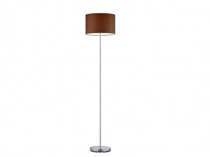 Design Stehleuchte mit rundem Stoffschirm in Braun - Standlampen fürs Wohnzimmer