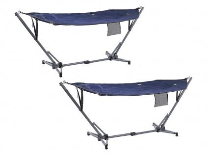 2er SET OUTDOOR Liege mit Hängemattengestell klappbar für Camping Balkon Garten