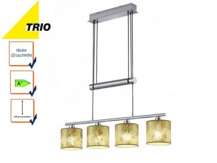 Pendelleuchte höhenverstellbar mit LED, 4flammig Lampenschirme Stoff goldfarbig
