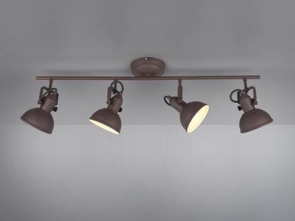 LED Deckenstrahler 4 flammig im Retro Look aus Metall in Rost, dreh + schwenkbar