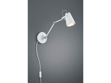 Moderne Wandlampe aus Metall in weiß matt, varialbel verstellbar Wohnzimmerlampe