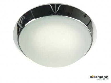 Deckenlampe rund Ø35cm Glas satiniert Klarrand, Zierring Chrom Landhausleuchte