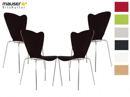 4er Design Stuhl HEART Stapelstuhl Esszimmerstuhl Bistrostuhl Schalenstuhl