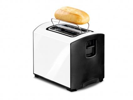 Weißer Edelstahl Toaster 950 Watt Auftaufunktion Aufwärmen Brötchenaufsatz