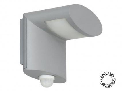 LED Wand Außenleuchte mit 90°/7m Bewegungsmelder, Alumium-Glas, grau