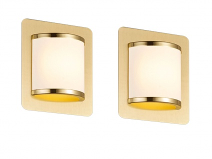Elegantes Wandleuchten 2er Set mit Schalter & LED Messing matt/weiß Innenlampen - Vorschau 2