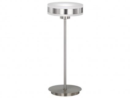 LED Tischleuchte mit Dimmer Nickel matt Acrylglas weiß H. 35cm Ø 14cm Lampen