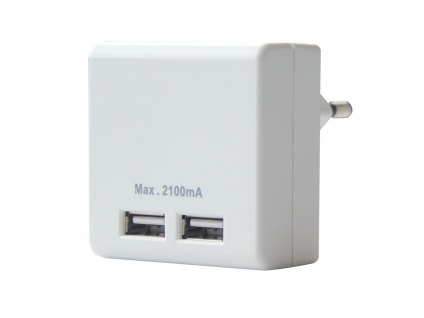 Dual USB Ladeadapter für Handy Smartphone Tablet - 2 Ports Ladegerät Steckdose
