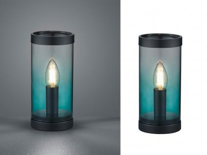 Kleine ausgefallene Glas Tischleuchte Zylinder Tischlampe Nachttischlampe Türkis - Vorschau 3