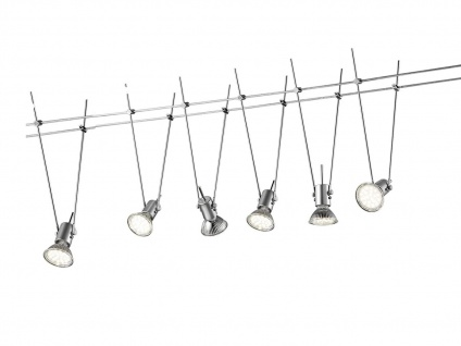 LED Komplettset - Seilsystem mit 6 schwenkbaren Spots Deckenlampe Wohnzimmer