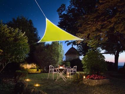 Sonnensegel mit 107 LEDs Dreieck Grün 5, 6² - Terrassensegel für Balkon & Garten