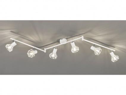6 flammiger schwenkbarer LED Deckenstrahler Weiß, Vintage Deckenleuchte Wohnraum