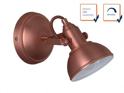LED Wandspot im Retro Look aus Metall in Kupfer dreh + schwenkbar Wandstrahler - Vorschau 3
