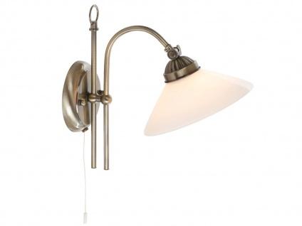 Landhaus Wandleuchte Design antik mit Zugschalter, Lampenschirm weiß, Wandlampe