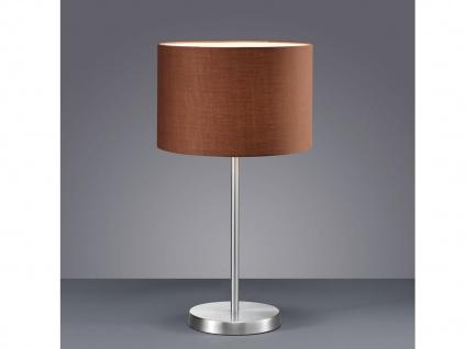 Design LED Tischlampen mit Stoffschirm rund braun Ø30cm - fürs Wohnzimmerlampen