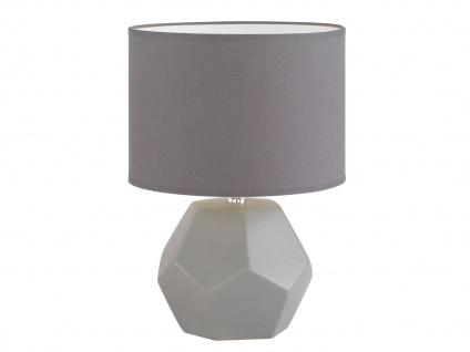 Honsel Tischleuchte grau mit LED, Keramik Lampenschirm Stoff, Wohnzimmerlampe