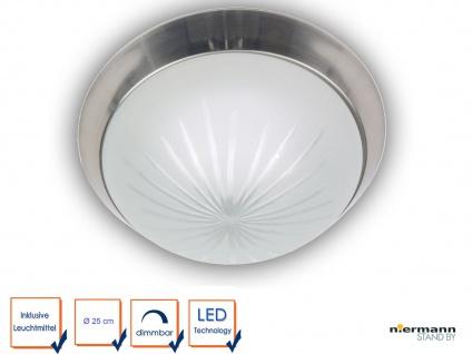 LED Deckenleuchte Schliffglas satiniert, Nickel matt Ø 25cm LED Dielenleuchte