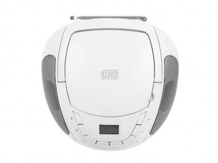 Tragbares Radio weiß mit CD-Spieler & FM Tuner, Aux-in für MP3 Player, Stereo - Vorschau 4