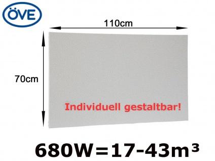 680W Infrarotheizung, 110x70 cm, für Räume 17-43m³, bemalbar, IP44