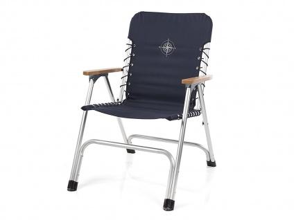 Luxeriöser Bootsstuhl mit edler Holz Armlehne, praktischer Anglerstuhl in Blau
