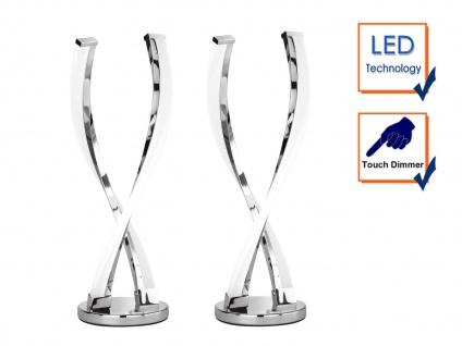 2er Set LED Tischleuchte IDANA, Chrom, Touchdimmer, Tischlampe LED Tischlampe