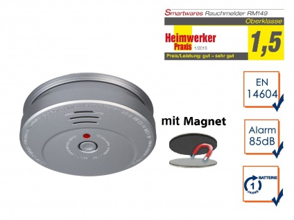 Rauchmelder Brandmelder Aluminiumoptik inkl. Magnethalter 85dB