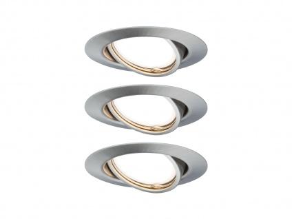 Schwenkbare GU10 LED Einbaustrahler Decke 3er Set rund 68mm Eisen gebürstet 5W