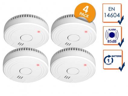 ELRO Rauchmelderset DIN 14604 mit 1-Jahres Batterie - 4x Brandschutz Detektoren