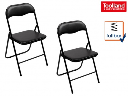 Klappstuhlset gepolstert schwarz, faltbarer Stuhl, Campingstuhl, Terrassenmöbel