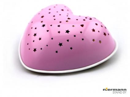 Nachtlicht Kinderzimmer rosa SOLAR HEART projiziert Herzen & Sterne in 7 Farben