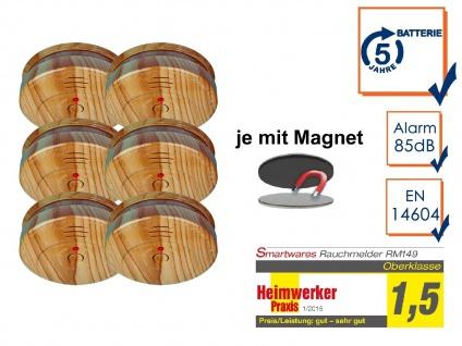 6er SET Rauchmelder Holzoptik 5 Jahres Batterie & Magnetbefestigung, Feueralarm
