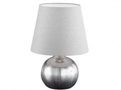 Keramik Tischleuchte 43cm mit LED, Lampenschirm Stoff grau silber, Tischlampe