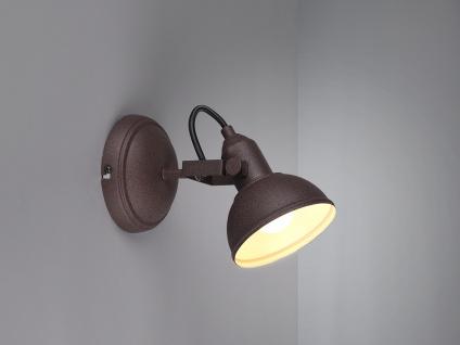 LED Wandspot im Retro Look aus Metall in Rost dreh-und schwenkbar - Wandstrahler