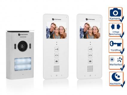 Video Türsprechanlage für Zweifamilienhaus, 2 Draht Gegensprechanlage mit Kamera