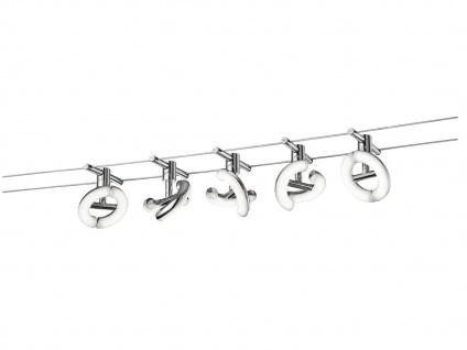 TRIO LED Deckenleuchte Seilsystem 5 Strahler Rund Chrom 5 Meter, Decken Lampen