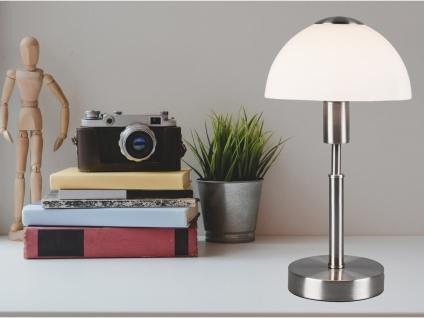 LED Tischleuchte mit Touch Dimmer, Fuß in Silber matt & Opalglasschirm Höhe 33cm - Vorschau 3