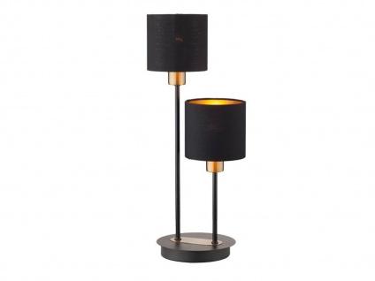 2 flammige Tischleuchte mit Stoffschirm in Schwarz /Gold Design Nachttischlampen