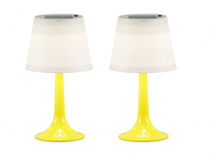 2er-Set Solar High Power LED-Tischlampe ASSISI, IP44, gelb, H: 36cm
