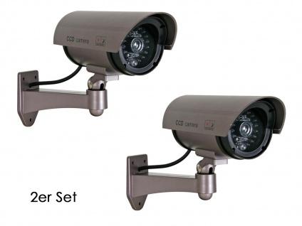 2er Set Kamera Attrappe, IR-LEDs & LED rot, Fake Dummy Innen Außen Überwachung - Vorschau 2